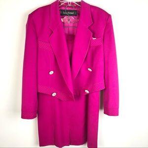 Louis Feraud Pink Pencil Skirt Jacket Suit Set 8